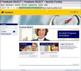 Startseite: Postbank SELECT-Portal