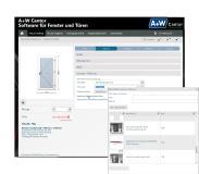 Eine Türfüllung wird benötigt: Der A+W iQuote-Benutzer wählt mit einem Mausklick den online-Konfigurator des Zulieferers aus.