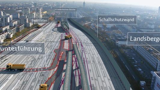 Visualisierung VE 10: Laim – Baustraßen und Schallschutzwand, Quelle: Deutsche Bahn AG / Fritz Stoiber Productions GmbH