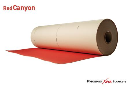 Red Canyon is the new PHOENIX Xtra BLANKETS printing blanket for varnishing and replaces the previous Canyon type. The blanket's varnish surface is based on a new concept which substantially reduces the ink buildup during varnishing (Photo: ContiTech)