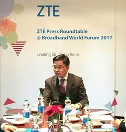 Xiao Ming, Senior Vice President der ZTE Corporation & Head of ZTE Business in Europa und Amerika spricht mit Journalisten und Analysten auf dem BBWF 2017 in Berlin