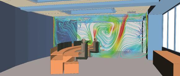 Zugfreies Arbeitsklima im Kontrollraum:  Optimierung der Lüftungskomponenten durch Analyse der Luftströmung und Temperatur. (Copyright: HTCO GmbH)