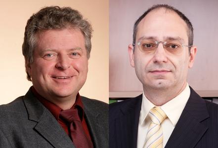 Referieren auf der Baumesse zum Thema Mini-BHKW: Die Experten Matthias Kabus von der EnergieAgentur.NRW und Markus Gailfuß vom BHKW-Infozentrum Rastatt.