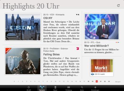 Die Highlights-Ansicht auf dem iPad