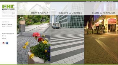 Startseite des frisch renovierten Internetauftritts der EHL AG: Die Besucher finden den für sie passenden Produktbereich über die hier dreigeteilte Menüführung