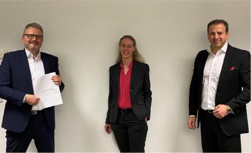 Eissmann Group Automotive, v.l.: Dr. Wolfgang Braun (Vorsitzender der Geschäftsführung), Claudia Eißmann (Vorsitzende des Beirats), Sami Sagur (Kaufmännischer Geschäftsführer)
