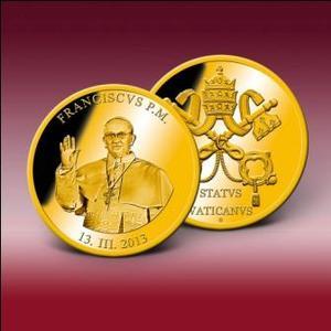"""Sonderprägung """"Papst Franziskus"""" zu Ehren des neuen Pontifex Maximus -  Bereits jetzt bei Bayerisches Münzkontor bestellbar - Bild: Bayerisches Münzkontor"""