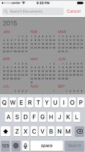 FileCalendar calendar view with the activated search function for documents. You have to select the file symbol with the loupe on the top bar. The function searches through the names of documents, which are attached on calendar events. The results will be displayed in an event list.