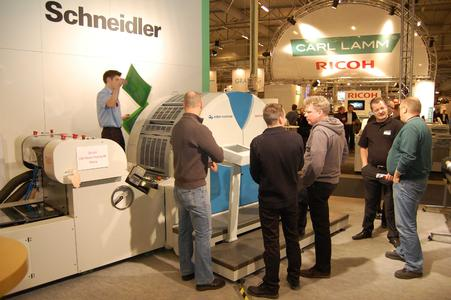 Lively discussions on the successful UV offset machine Genius 52UV at the Print 2009 in Stockholm, Sweden