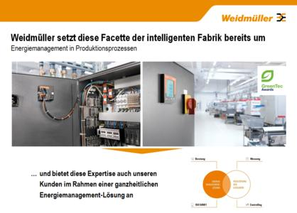 Weidmüller energy management system: Intelligent interplay when implementing energy management in accordance with ISO 50001. Measurement, consultancy and controlling all go hand-in-hand as part of an integrated process