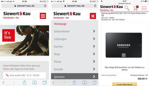 mobile Ansicht der Webseite und des Online-Shops