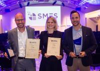 Hans Krebs (erster von links), Leiter Serviceportfolio- und Prozessquality bei der Schweizerischen Post; neben ihm die Preisträger der Swisscom / Foto: inside-it.ch