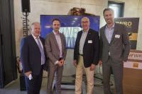 MdB Peter Weiß, Dominik Fehringer (WRO GmbH), Helmut Hilzinger (Vorstandsvorsitzender der WRO GmbH), Daniel Terzenbach (Vorstand der Bundesagentur für Arbeit)