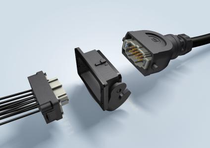 Der vollständig konfektionierte Halterahmen eines Han-Eco® B lässt sich mit hörbarem Klick von hinten in ein Anbaugehäuse einrasten