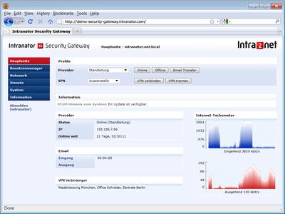 Screenshot Software-Version Intranator Security Gateway (www.intra2net.com)
