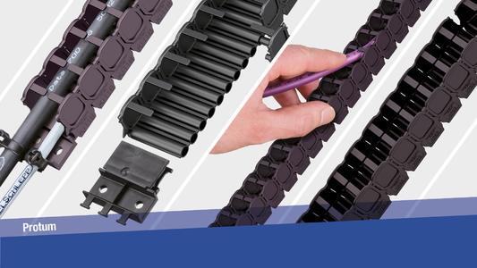 Die kleinen und leichten Energieführungsketten der Serie PROTUM eignen sich für geringe Leitungsgewichte und kurze freitragende Anwendungen