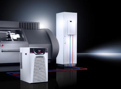 Kühlung einer Werkzeugbearbeitungsmaschine in Kombination mit Schaltschrankkühlung mittels Blue e+ Chiller (Quelle: Eplan Software & Service GmbH & Co. KG )