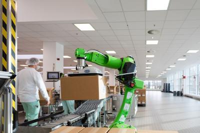 Der grünen Fanuc Roboter befördert die Pakete von der Rollenbahn auf und stapelt diese auf eine Palette.