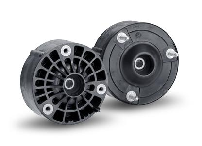 This strut mount is the world's first fiberglass-reinforced polyamide strut mount designed for use in the passenger car chassis system. For the front and rear axles, there are different versions / Photo: ContiTech