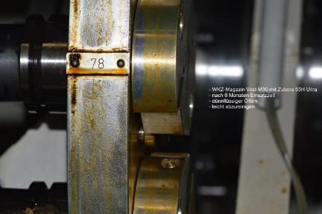 Zubora 65 H Ultra in der Testphase: Das WKZ-Magazin WFL M30 weist nach sechs Monaten Einsatzzeit lediglich einen dünnflüssigen Ölfilm auf, der leicht abzureinigen ist
