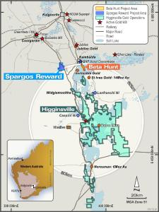 Figure 1: Location of Spargos Reward project in relation to the Beta Hunt mine and Higginsville Gold Operations, Western Australia