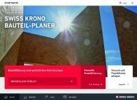 Screenshots von der Startseite  der Web-Applikation SWISS KRONO BAUTEIL-PLANER