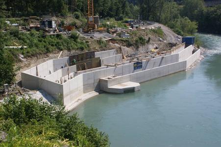 Kraftwerk Schwarzach an der Salzach, die Baustelle für den Fischaufstieg (Andreas Schweizer)