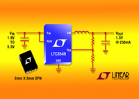 Low VIN Synchronous Step-Down DC/DC Converter Delivers up to 250mA from a 2mm x 3mm DFN
