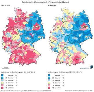 Wie sich die Bevölkerungszahl verändert (Grafik: BBSR)