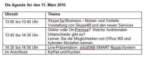 Die Agenda für den 11. März 2016