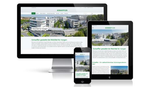 Die Konzern-Webseite von Schaeffler wurde komplett überarbeitet und für alle Endgeräte wie Smartphone, Tablet oder Desktop optimiert. Bild: Schaeffler