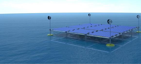 Unused ocean surface space for renewable energy production: Floating solar panels in combination with wave and wind energy.
