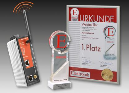 """Die Leser der Fachzeitschrift """"Elektronik"""" haben in der Kategorie Automatisieren das Industrial-Ethernet-WLAN Modul von Weidmüller auf den 1. Platz gewählt und mit dem Pokal """"Produkt des Jahres"""" ausgezeichnet"""