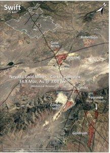 Abbildung 1: Regionale Karte des Bergbaureviers Cortez mit dem Konzessionsgebiet Swift unmittelbar neben dem Minenkomplex Cortez, welcher der Firma Nevada Gold Mines gehört
