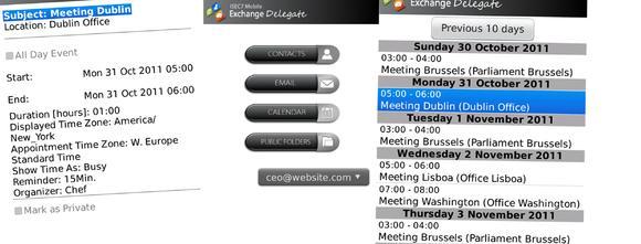 ISEC7 Mobile Exchange Delegate ermöglicht mobilen Zugriff auf Kontakte, E-Mails, Kalender von Kollegen und öffentliche Ordner.