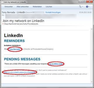 Gefälschte LinkedIn-Kontaktanfrage