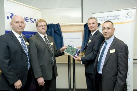 from left to right: Dr. Lee Jones, Head of Electronics and Computer Systems Engineering, University of Glamorgan;Dr. David Scammell, Senior Lecturer, University of Glamorgan; Stuart Archer, European FAE Manager, Renesas Electronics Europe; Dr. Akram Mohd Hammoudeh, Deputy Head of Electronics and Computer Systems Engineering, University of Glamorgan