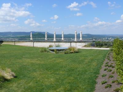 Die seitliche Heckenbepflanzung samt Staudenband grenzt den Dachgarten ab zum daneben liegenden Schafstall, gleichzeitig endet darunter auch der Tiefgaragenbereich / Quelle: ZinCo GmbH