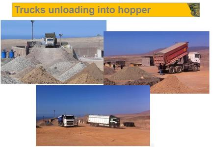 Trucks unloading