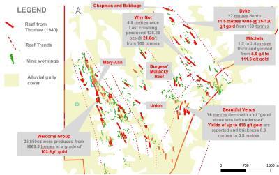 Abbildung 2: Karte des Pachtbesitzes von Redcastle mit Kennzeichnung der historischen Bergbauanlagen und der wichtigsten historischen Bergbaureviere