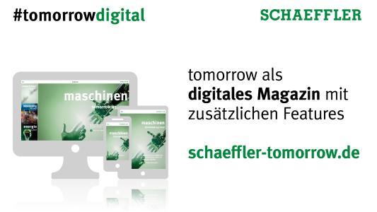 """""""tomorrow"""" – das Technologiemagazin von Schaeffler ist nun auch digital erhältlich / Foto: Schaeffler"""