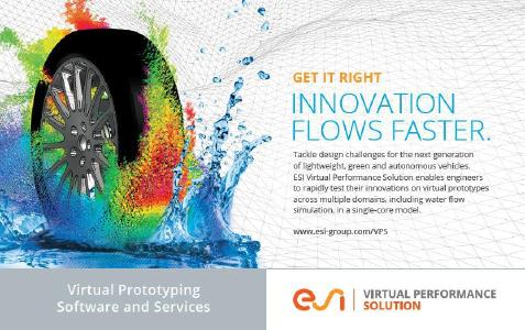 Among ESI's many software solutions, Virtual Performance Solution enables the Virtual Prototyping of vehicles in a realistic driving environment. (Topic presented on Jun 13 at 3:45 pm in Session 6A Particle Methods)