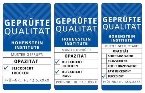 Neue Qualitätslabels der Hohenstein Institute zeichnen die Blickdichtheit von Bekleidung und technischen Textilien aus. © Hohenstein
