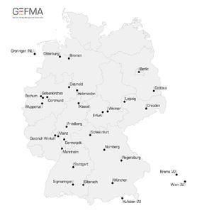 Hochschulstandorte der Gewinner von GEFMA-Förderpreisen seit 2002