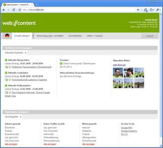 Dashboard des CMS web://content für Kommunen