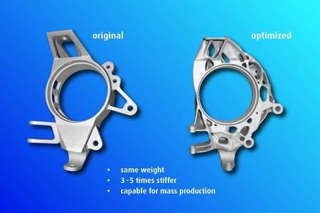 Vergleich des ursprünglichen Radträgers (li.) mit dem optimierten Radträger (re.)