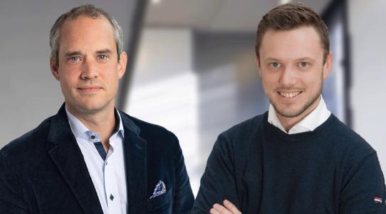 Von links: Martin Kunze (BayBG Investment-Manager),  Florian Oberndörfer (starcode Geschäftsführer)