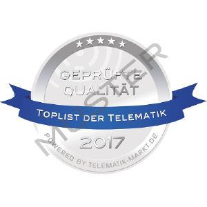 Dieses Siegel kennzeichnet erfolgreich geprüfte Anbieter der TOPLIST der Telematik 2017. Bild: Telematik-Markt.de