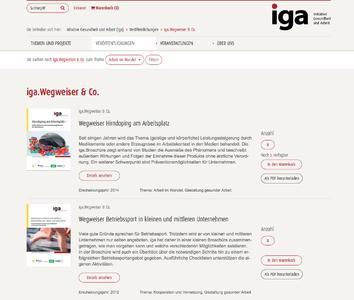 Pressebild: Nach dem Relaunch präsentiert sich die iga.Website noch benutzerfreundlicher. Dank einer speziellen Erweiterung können Interessierte die Publikationen filtern, den Bestand einsehen und sie direkt bestellen oder herunterladen.