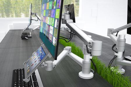 unverzichtbar f r gesundes und effektives arbeiten ergonomische monitorhalterungen auf. Black Bedroom Furniture Sets. Home Design Ideas
